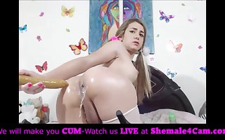 Blonde tranny put big dildo in creamy ass!!
