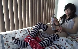 LewdJFateburn stripped stocking masturbation and anal toying