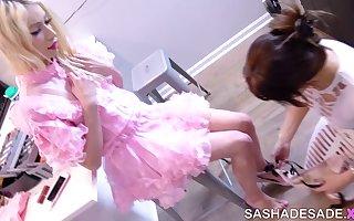 Bailey shows Sasha how to Suck Dick -  feminization session, MtF sissy bimbo